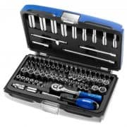 "EXPERT E030707 - 73Pc 1/4"" Square Drive 6Pt Socket Set + Ratchet + Accessories + Bits + Case"