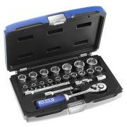 "EXPERT E031805 - 22Pc 3/8"" Square Drive Metric 12Pt Socket Set + Ratchet + Case"
