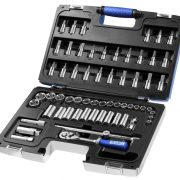 "EXPERT E031806 - 61Pc 3/8"" Square Drive Metric Std 12Pt + Long 6Pt Socket Set + Ratchet + Bits + Case"