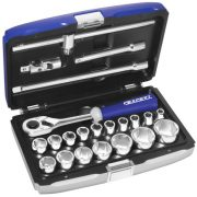 "EXPERT E032900 - 22Pc 1/2"" Square Drive Metric 6Pt Socket Set + Ratchet + Case"
