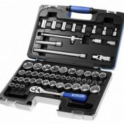 "EXPERT E032909 - 55Pc 1/2"" Square Drive Metric 6Pt + Inch 12Pt + Torx Socket Set + Ratchet + Case"