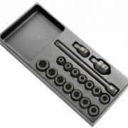 """EXPERT E040601 - 1/2"""" Square Drive Metric 6Pt Impact Socket Set + Module Tray 17Pcs"""