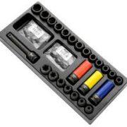 """EXPERT E041604 - 1/2"""" Square Drive Metric Long Impact Socket Set + Module Tray 26Pcs"""