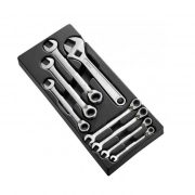 EXPERT E111100 - Metric Ratchet Combination Spanner Set + Module Tray 8 Pcs 8-19mm