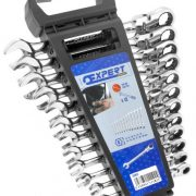 EXPERT E111102 - Metric Hinged Ratchet Combination Spanner Set + Rack 12 Pcs 8-19mm