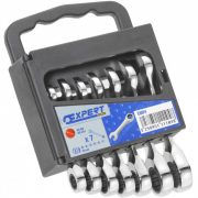 EXPERT E111104 - Metric Short Ratchet Combination Spanner Set + Rack 7Pcs 10-19mm