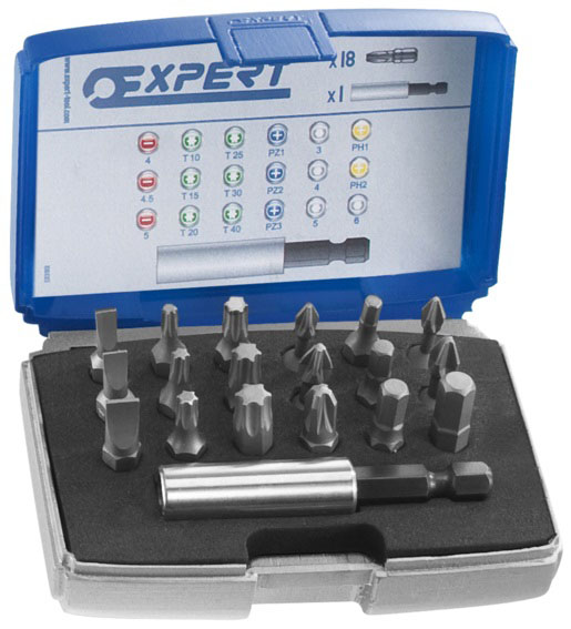 EXPERT E113901 - Screwdriver Bits Set 18 Bits + Bit Holder 4-4.5-5.5mm