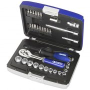 "EXPERT E194672 - 34Pc 1/4"" Square Drive Metric 6Pt Socket Set + Ratchet + Bits + Case"