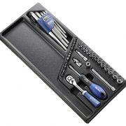 """EXPERT E194680 - 1/4"""" Square Drive Metric 6Pt Socket Set + Ratchet + Bit + Keys + Module Tray 45Pcs"""