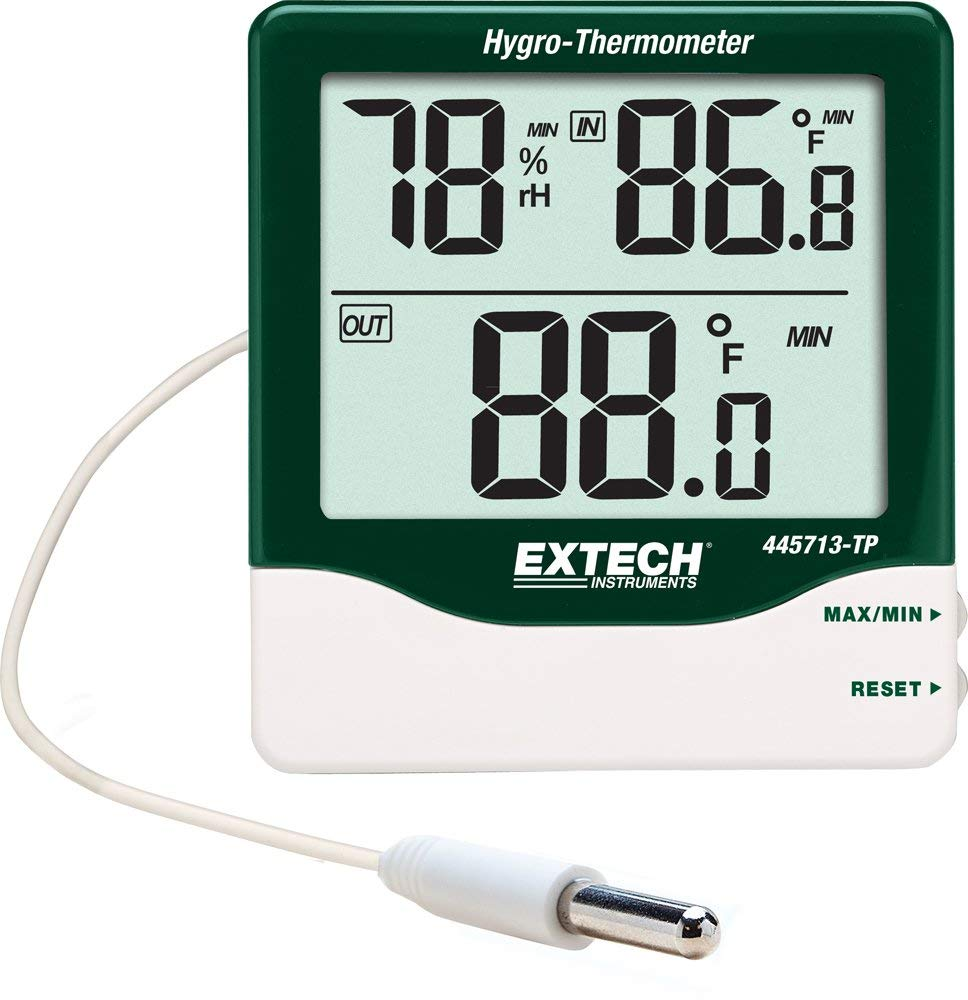 EXTECH 445713-TP - Big Digit Indoor/Outdoor Hygro-ThermometerCompact Hygro-Thermometer with Remote Probe