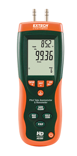 EXTECH HD350 - Pitot Tube Anemometer + Differential Manometer