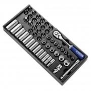 """EXPERT E031821 - 3/8"""" Square Drive Metric Std 12Pt + Long 6Pt Socket Set + Ratchet + Bits + Module Tray 50Pcs"""