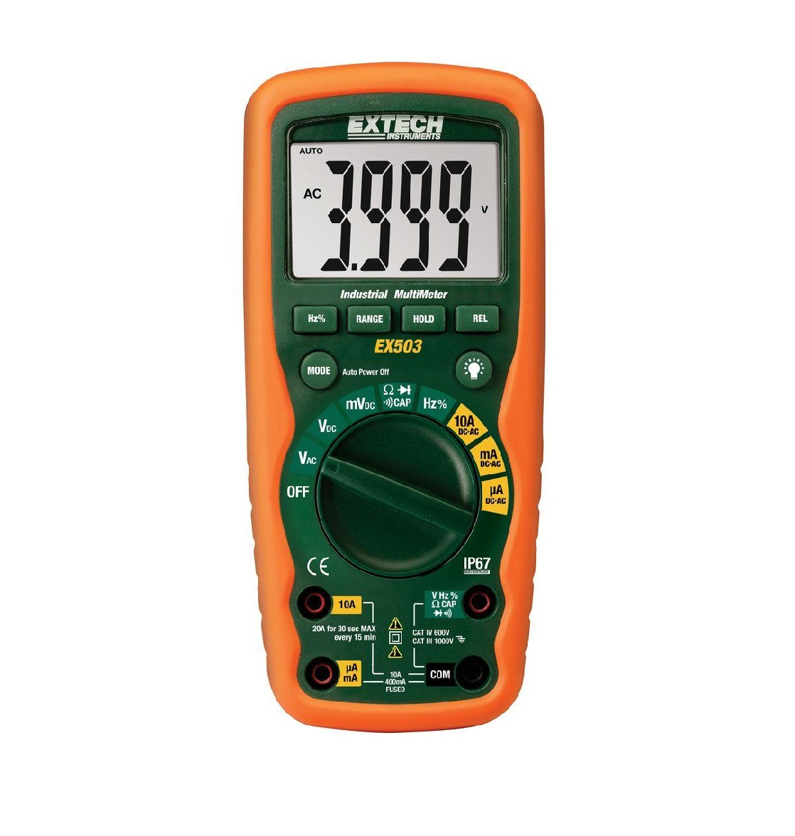 EXTECH EX503 - 10 Function Heavy Duty Industrial MultiMeter