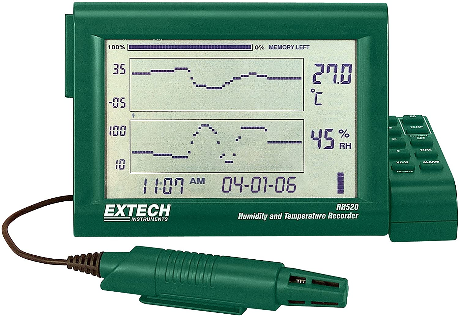 EXTECH RH520A-240 - Humidity + Temperature Chart Recorder with Detachable Probe