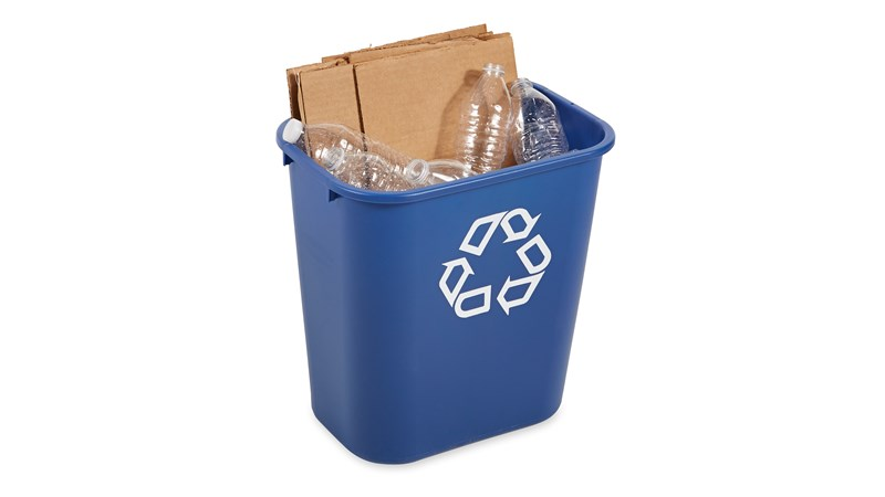 RUBBERMAID_FG295673BLUE_Recycling Container - Waste Basket Rect 27L- Blue