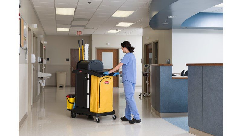 RUBBERMAID_FG9T7500BLA_Healthcare Cart - Janitorial Cleaning Cart With Doors/ Healthcare Cart