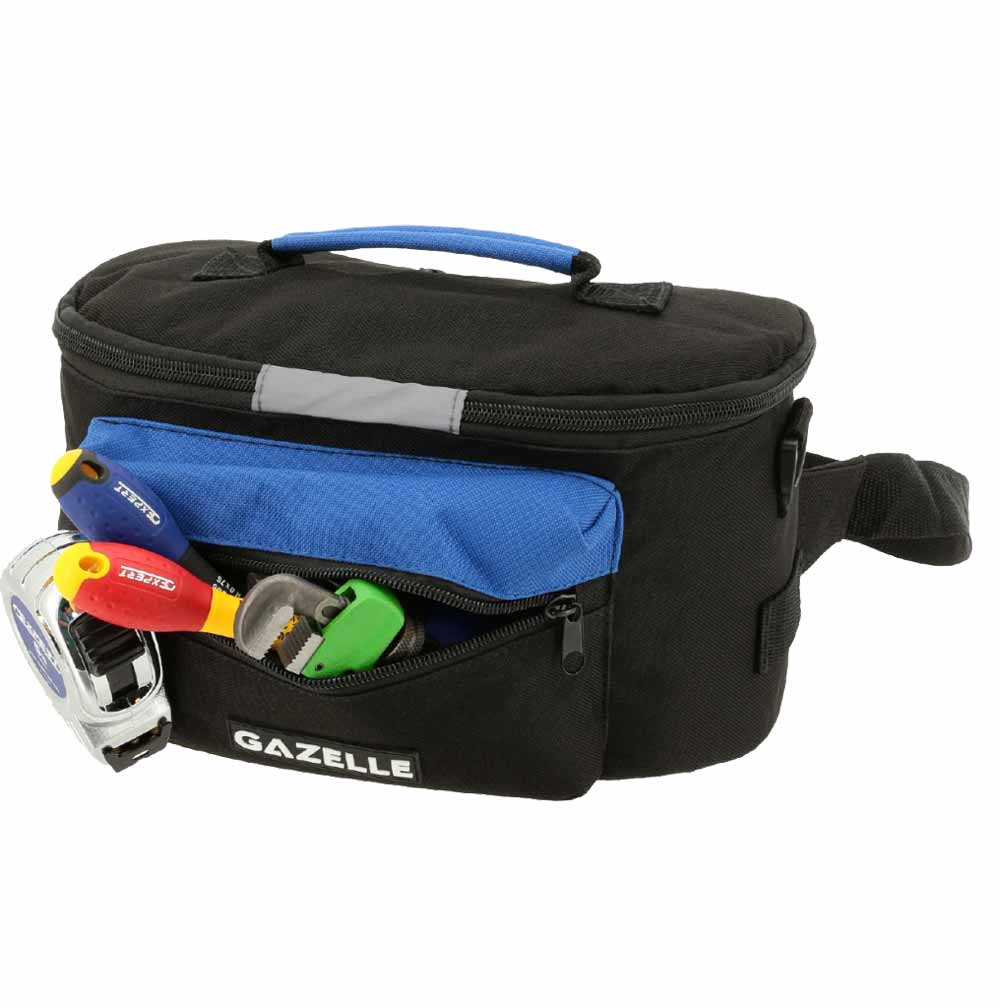 - 8 Pocket Tool Bumbag Size: 11.4in L x 5.12in W x 6.7in H with shoulder strap and belt