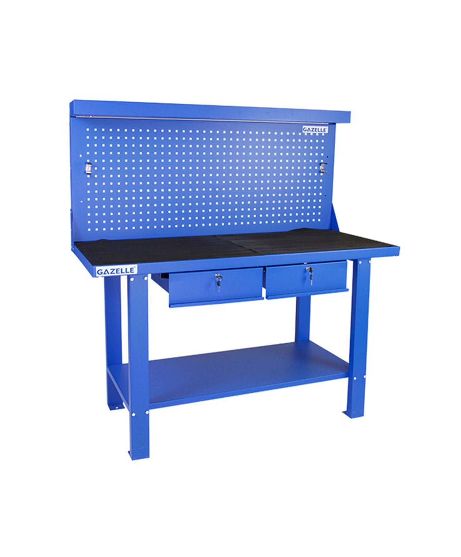GAZELLE G2605 - G2605 59 Inch Steel Workbench with pegboard and drawers