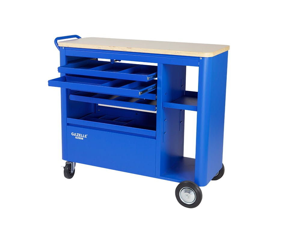 GAZELLE G2908 - G2908 40 Inch 5-Drawer Mobile Workbench with Solid Wood Top