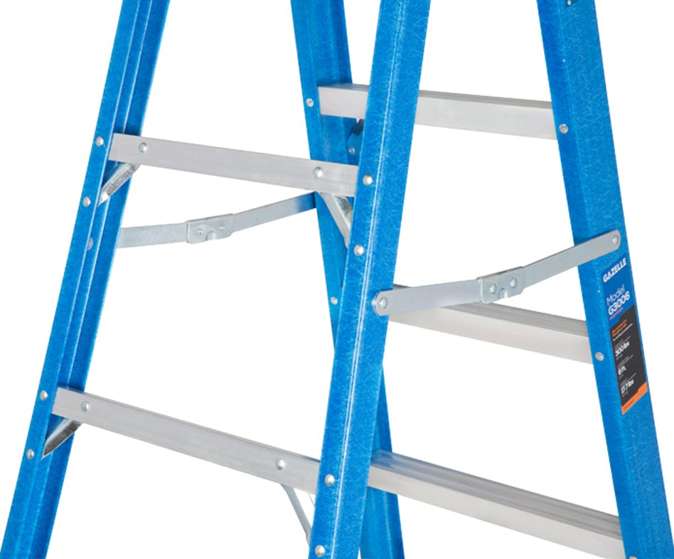 GAZELLE G3006 - 6Ft. Fiberglass Step Ladder for working height up to 10 Ft.