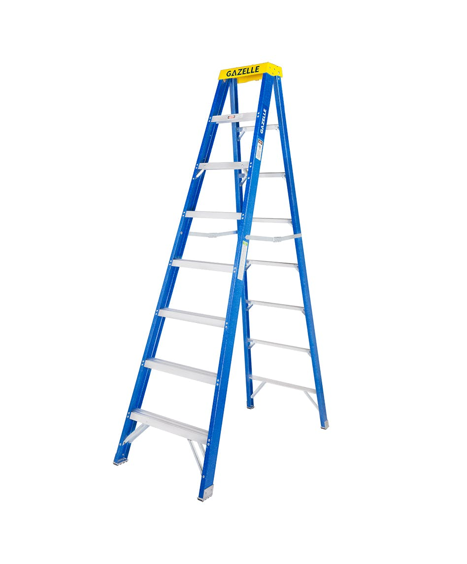 GAZELLE G3008 - 8 Ft. Fiberglass Step Ladder for working height up to 12 Ft.