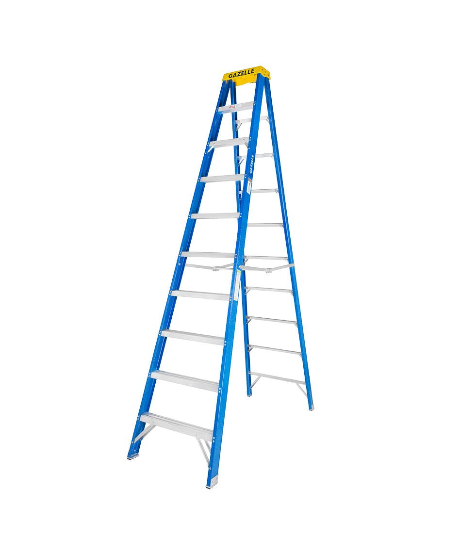 10 Ft. Fiberglass Step Ladder for working height up to 14 Ft.