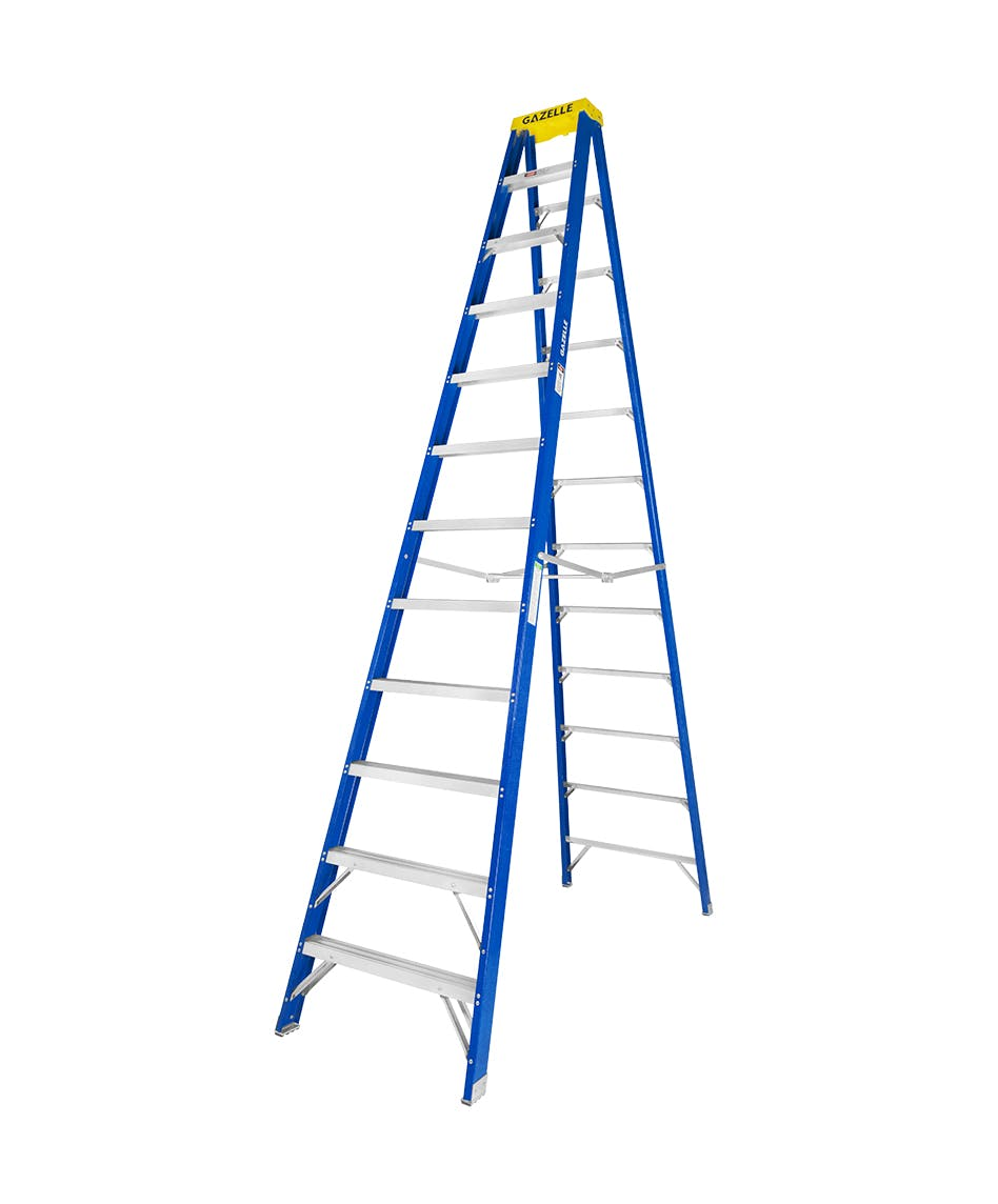 GAZELLE G3012 - 12 Ft. Fiberglass Step Ladder for working height up to 16 Ft.
