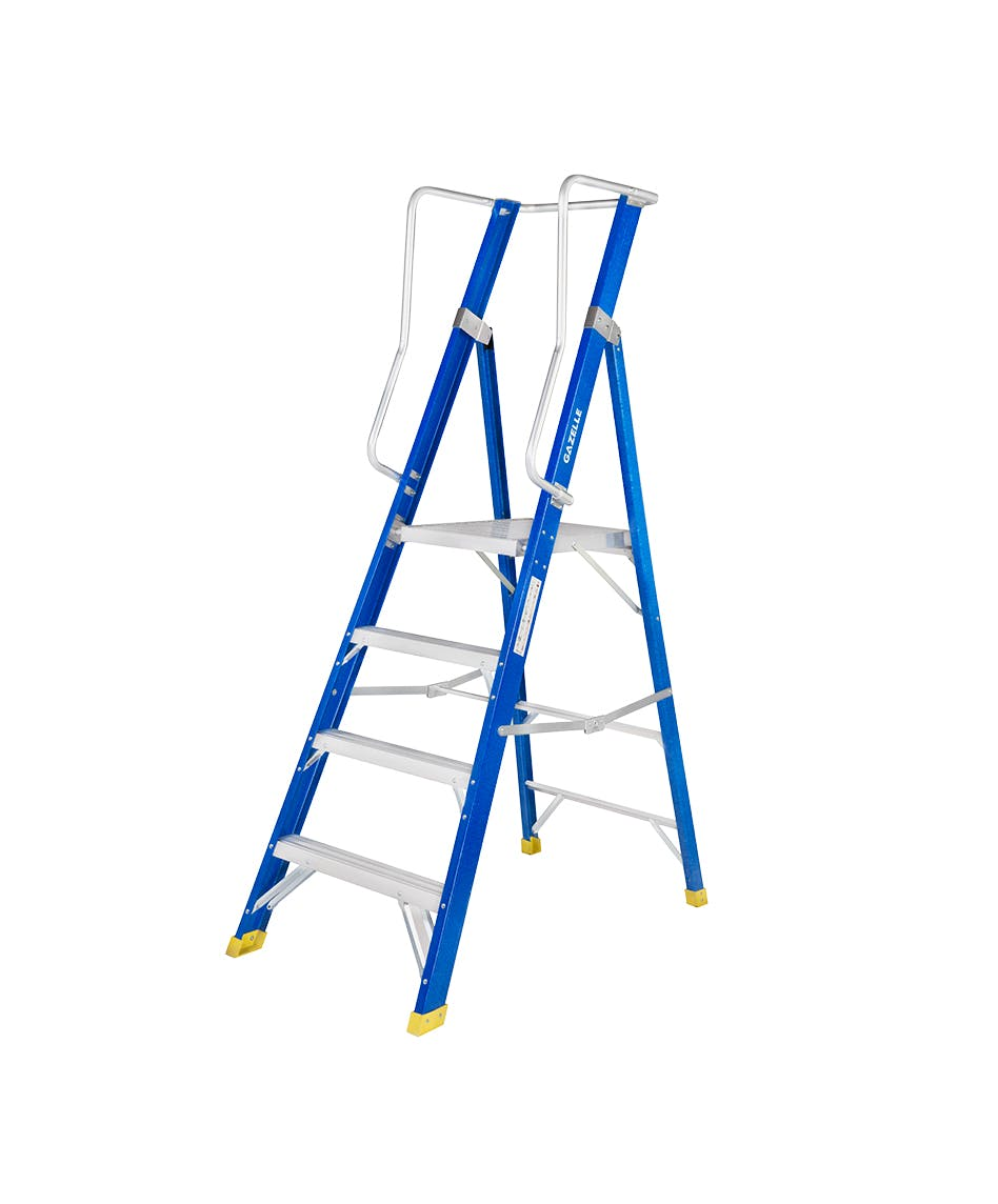 GAZELLE G3804 - 4Ft  Fiberglass Platform Ladderfor working height up to 10 Ft.