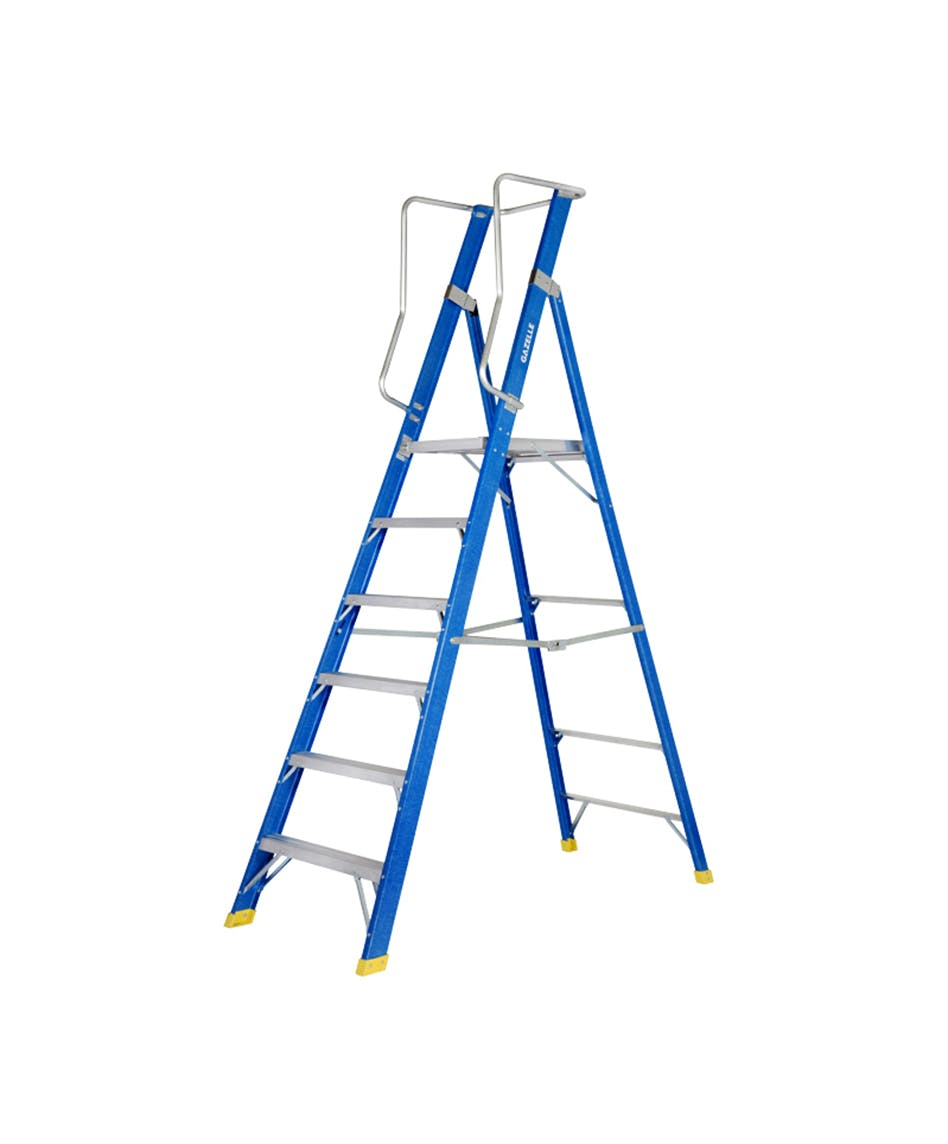 GAZELLE G3806 - 6 Ft. Fiberglass Platform Ladder for working height up to 12 Ft.