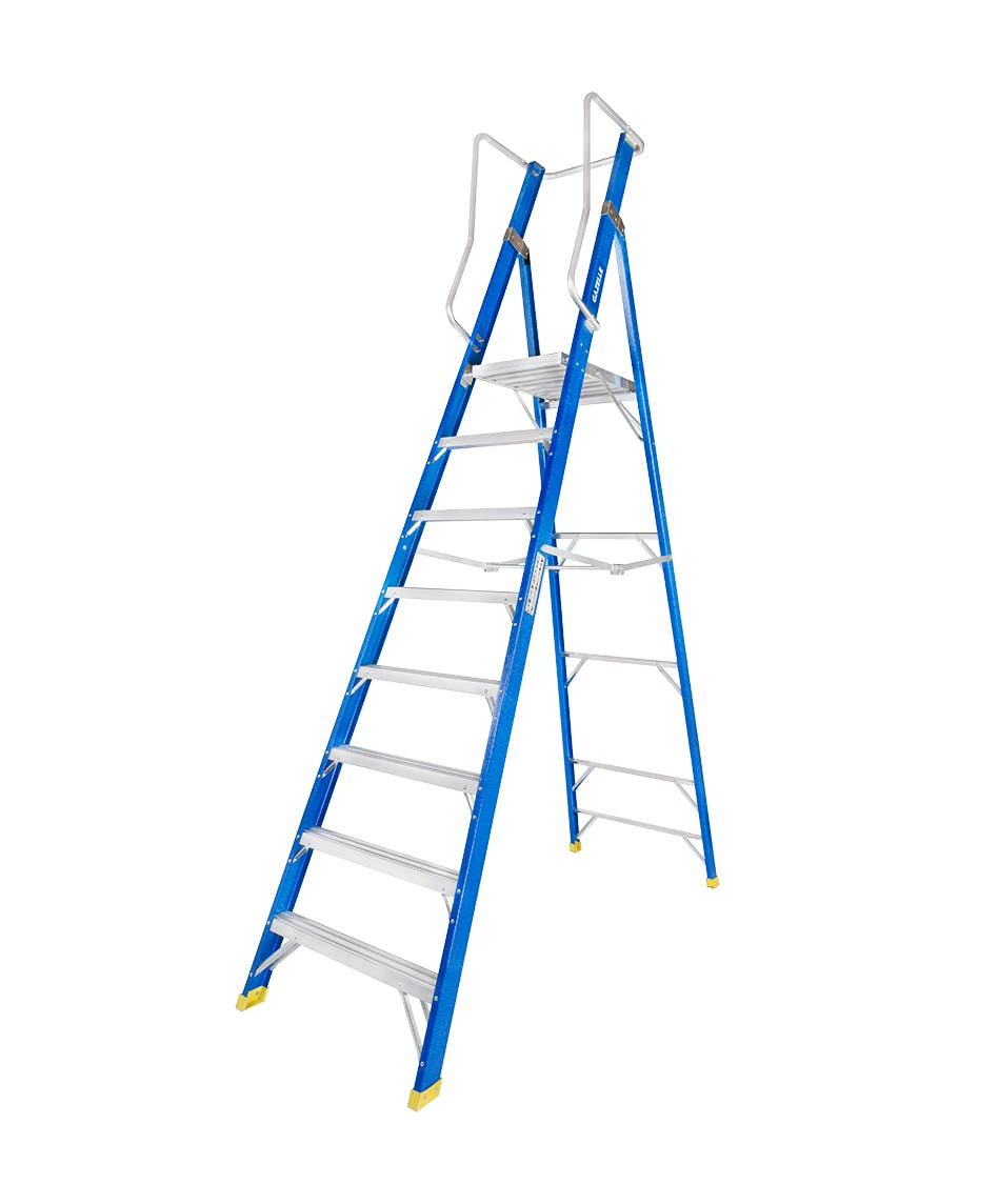 GAZELLE G3808 - 8 Ft. Fiberglass Platform Ladderfor working height up to 14 Ft.