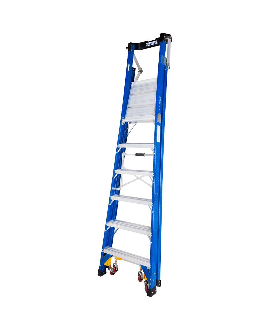 - 8 Ft. SafeTop Fiberglass Platform Ladderfor working height up to 14 Ft.