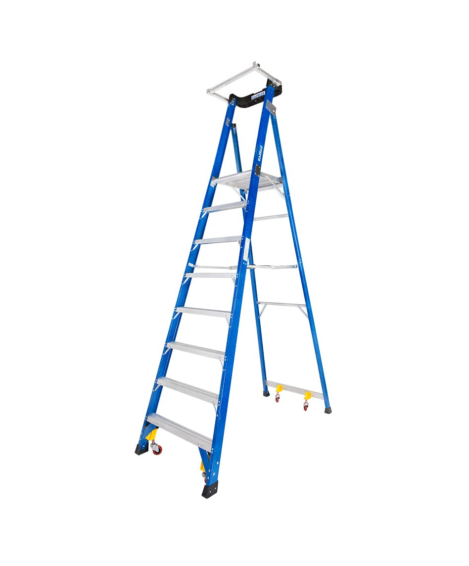 GAZELLE G3908 - 8 Ft. SafeTop Fiberglass Platform Ladderfor working height up to 14 Ft.