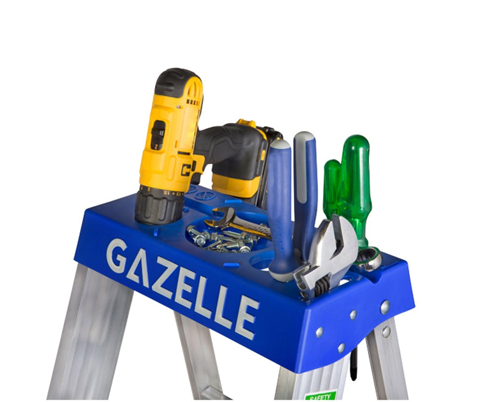 GAZELLE G5008 - 8 Ft. Aluminium Step Ladder for working height up to 12 Ft.
