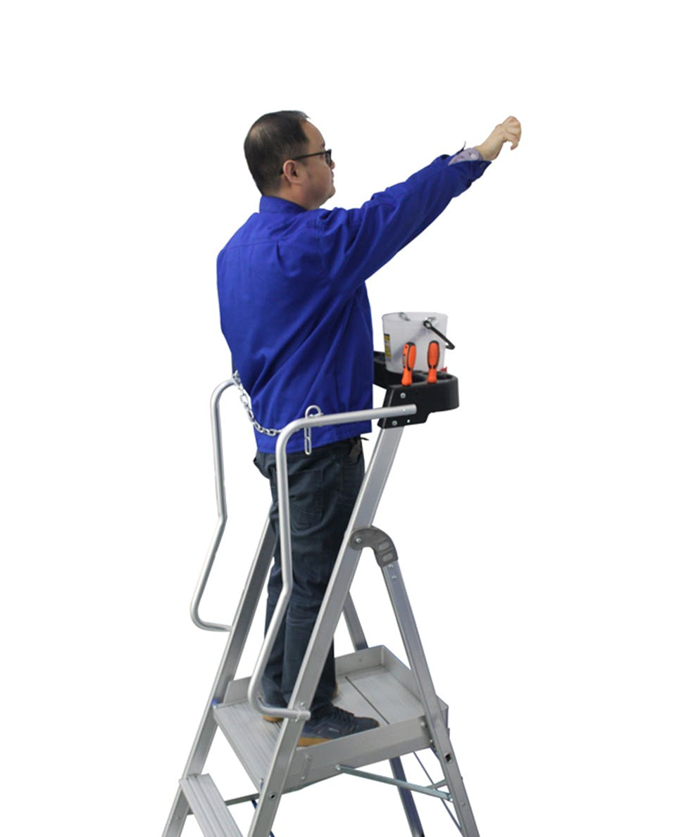 - 5 Step Aluminium Platform Ladder for working height up to 10.3 Ft.