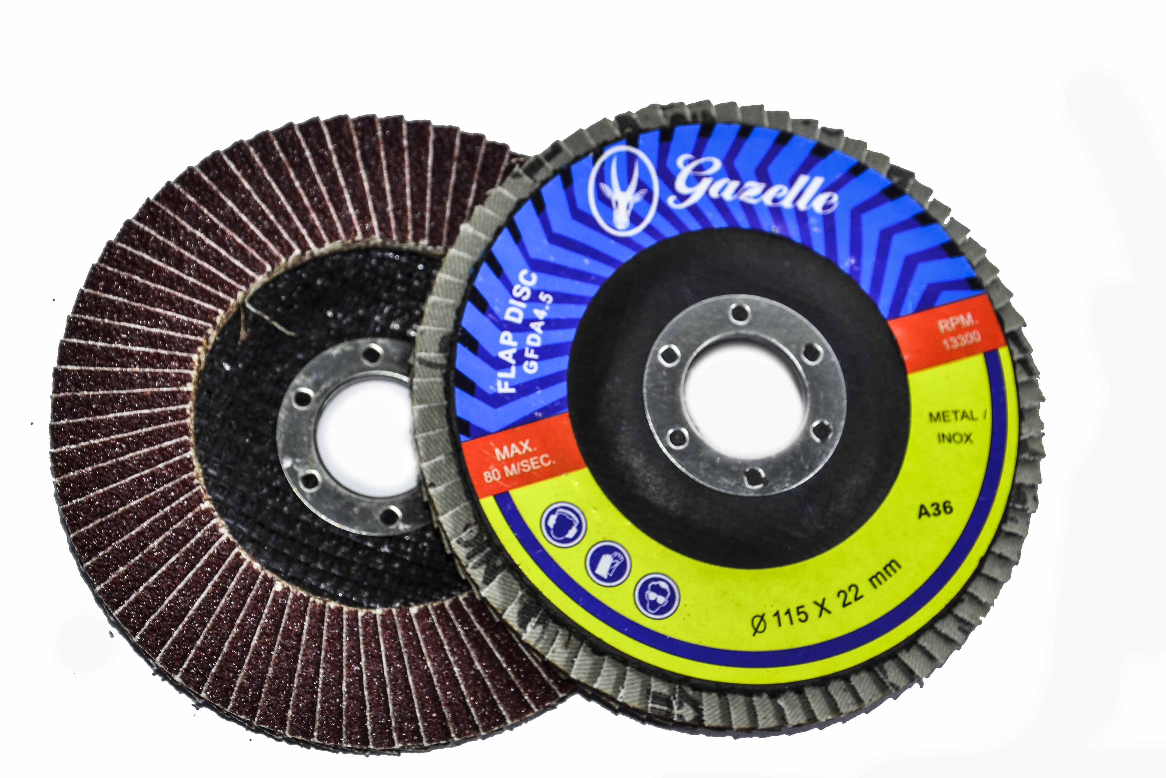 GAZELLE GFDZ412G - Flap Discs 4in – 100mm x 120G ZIR Blue