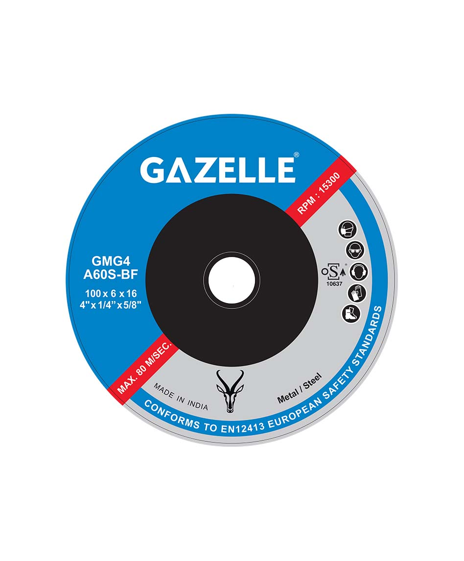 GAZELLE GMG4.5-Rapid - Metal Grinding Disc 4.5in – 115 x 6 x 22mm Rapid