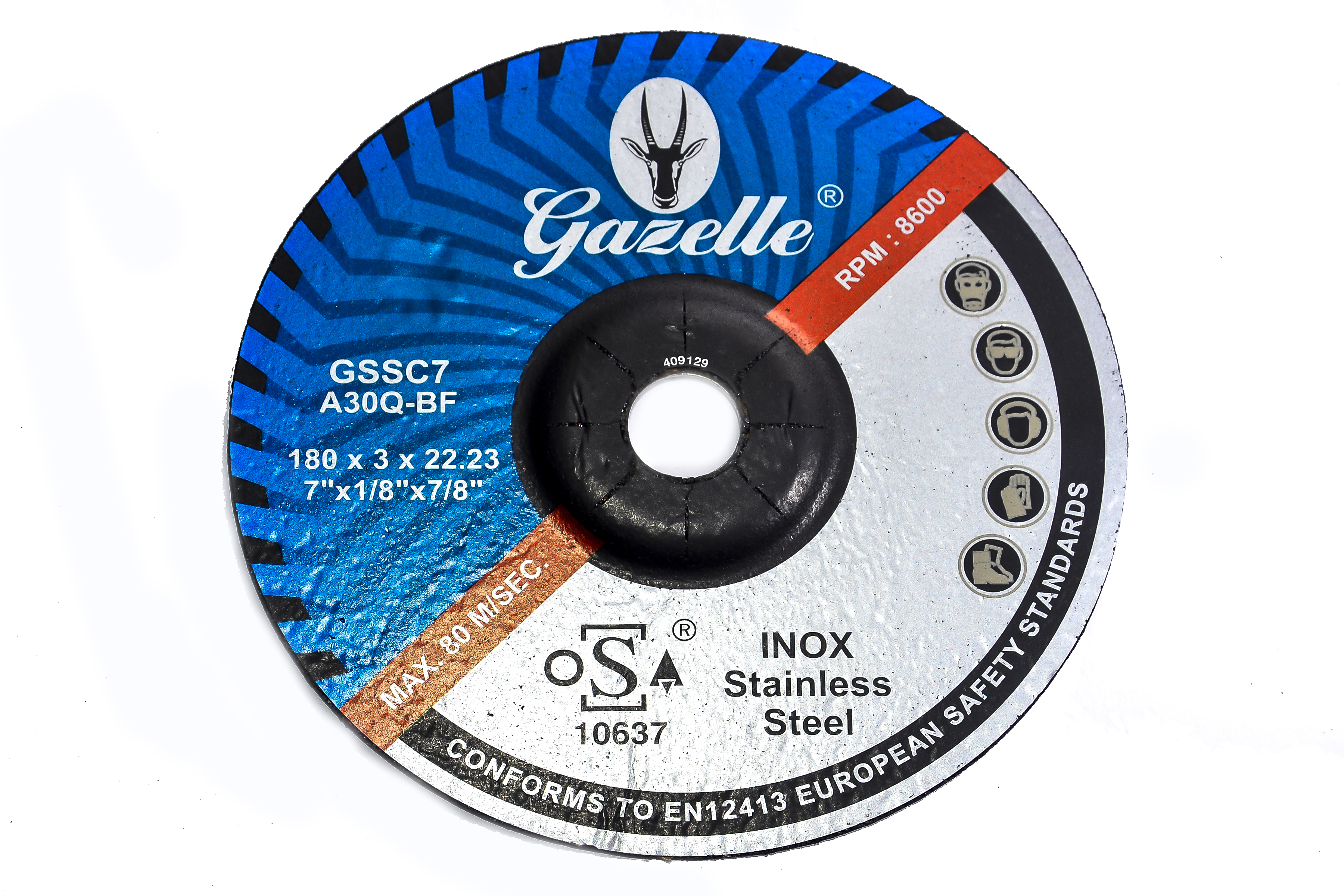 GAZELLE GSSC7 - Stainless Steel Cutting Disc 7in – 180 x 3 x 22mm