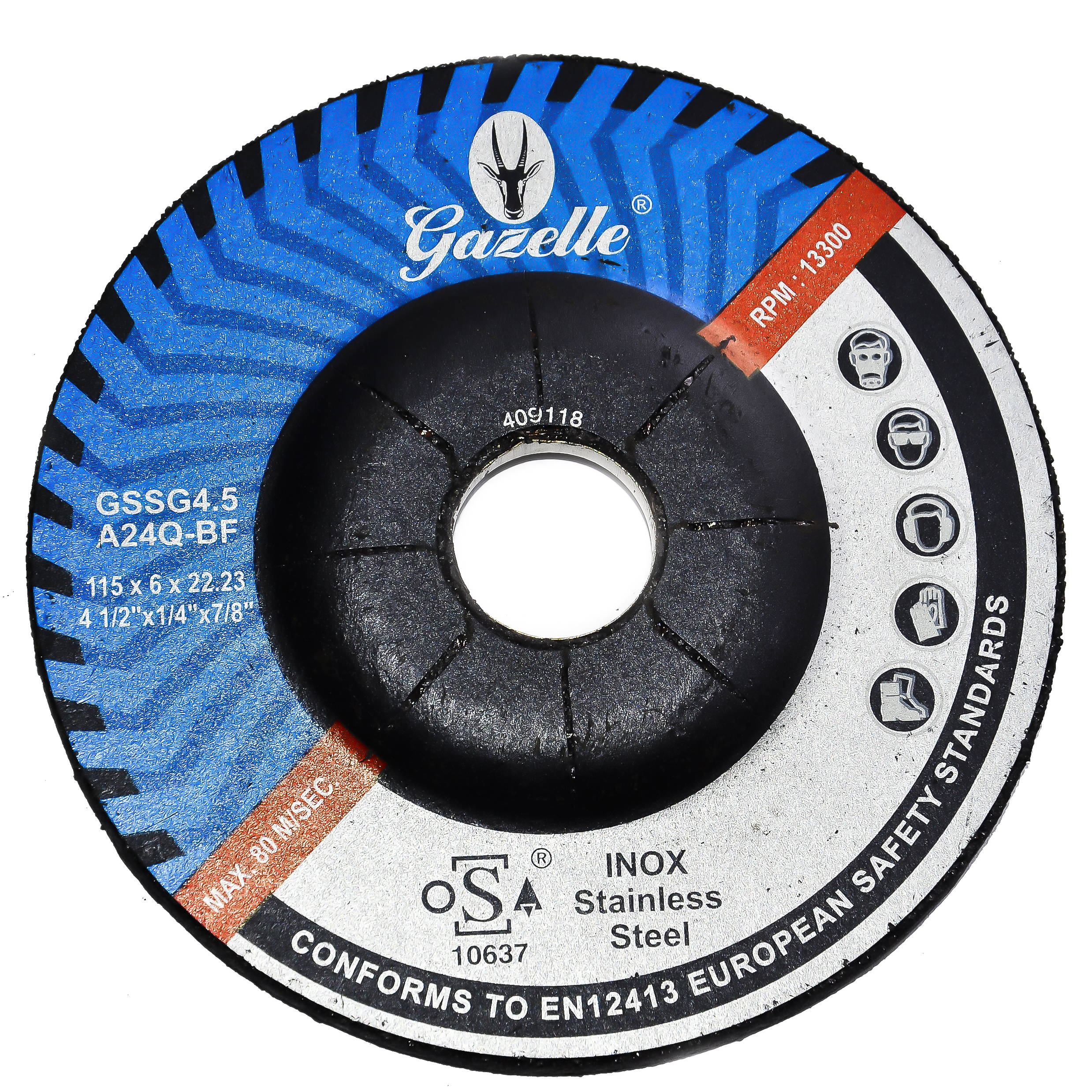 GAZELLE GSSG4.5 - Stainless Steel Grinding Disc 4.5in – 115 x 6 x 22mm