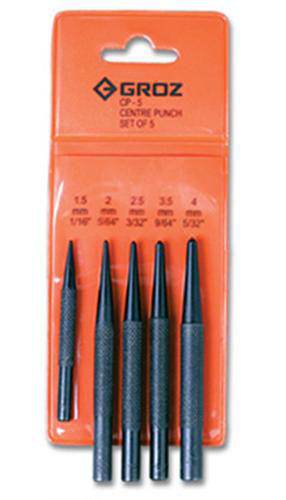 Centre Punch Set 5pcs; 1/6in to 5/32in