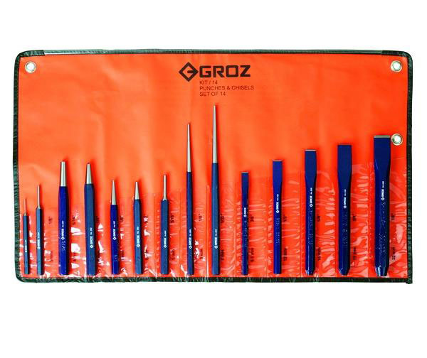 GROZ KIT/14/ST - Punch & Chisel Kit 14pcs