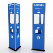 GAZELLE G9607  - Triangular Shaped Floor Stand Hand Sanitizer with Contactless Dispenser, Tissue holder and Trash bin