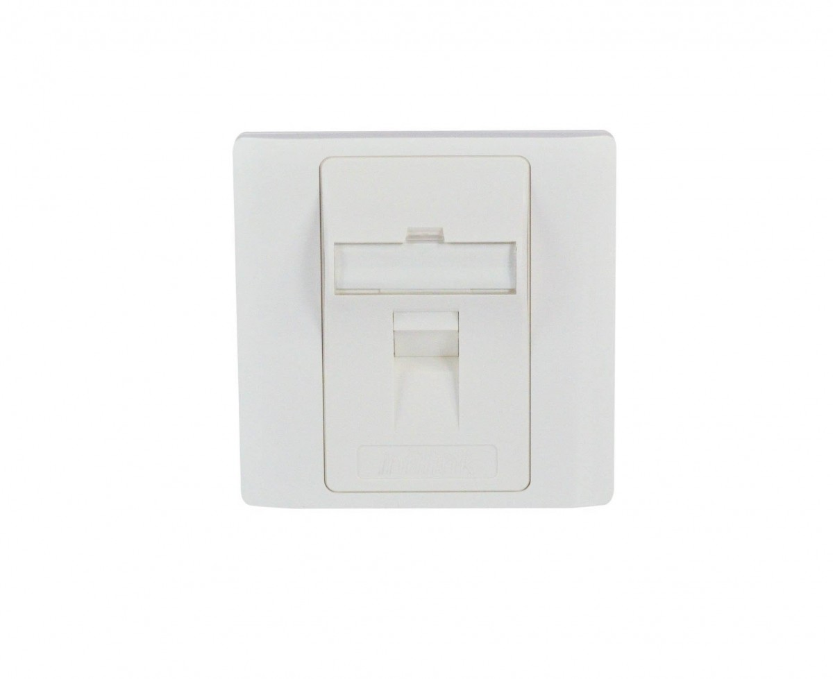 INFILINK IP-FPABS1P - Infilink Face Plate, 86 X 86 Angled UK Style, 1 port, W/Label & Sticker, Shuttered, White, UL listed, No Keystone Jack