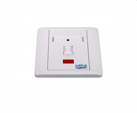 INFILINK IP-FPBS1P - Infilink Face Plate, 86 X 86 UK Style, Single Port, Shuttered, No Keystone Jack