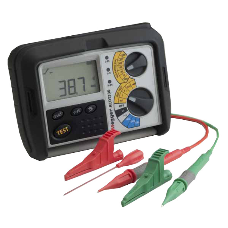 MEGGER RCDT330 - RESIDUAL CURRENT DEVICE TESTERS with RCD trip current test (RAMP) + Result storage and Download