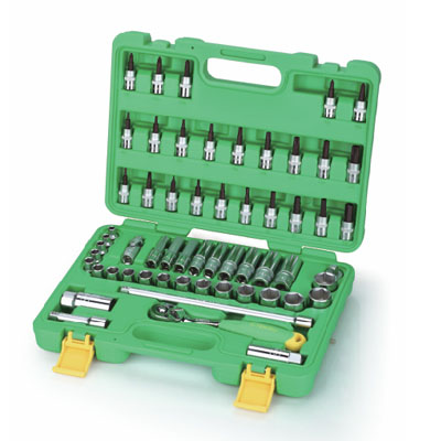 TEKIRO SK-TS58 - Multi-Drive Socket Sets/ Hand Socket Set 58 Pcs; 3/8″