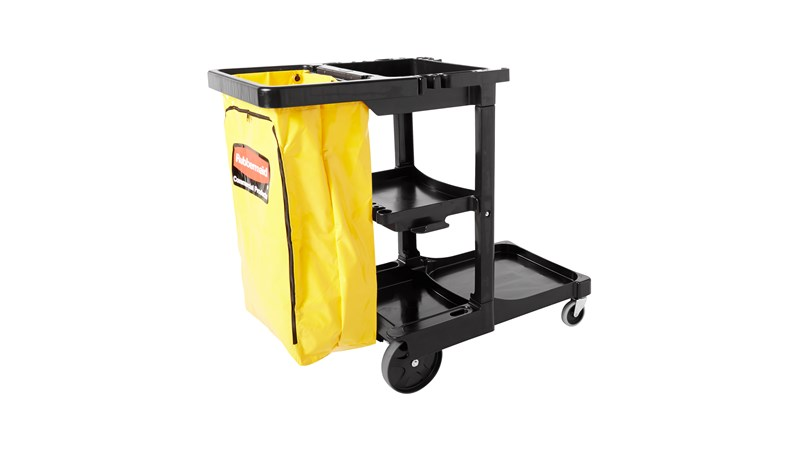 RUBBERMAID FG617388BLA - Janitor/Cleaning Cart- Black