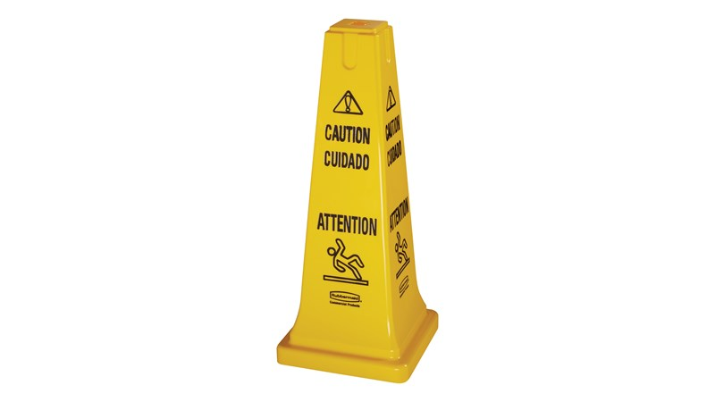 RUBBERMAID FG627700YEL - Safety Cone Multilingual Caution & Wet Floor Symbol