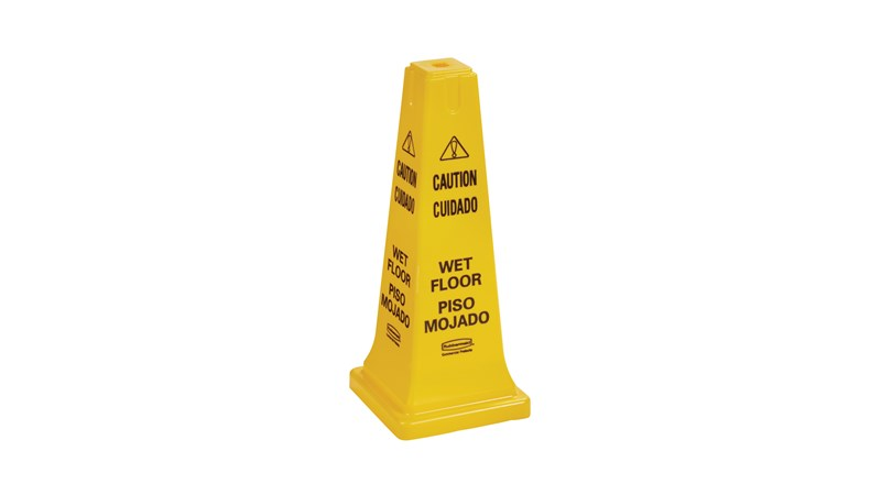 RUBBERMAID FG627777YEL - Safety Cone Multilingual Caution & Wet Floor