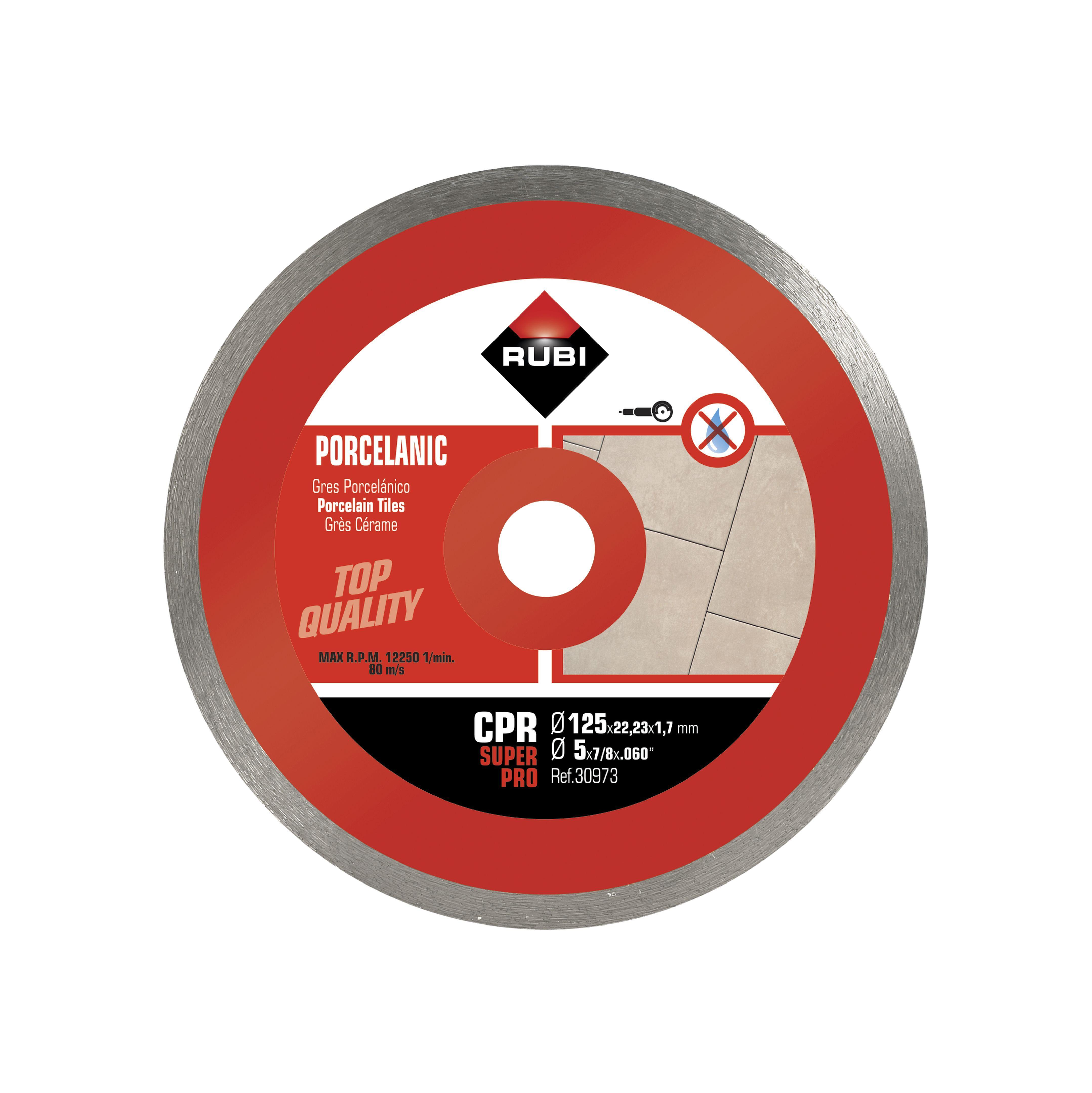 Rubi 30973 - CPR-125 Super Pro Continuous Porcelain Tiles Diamond Blade 125mm