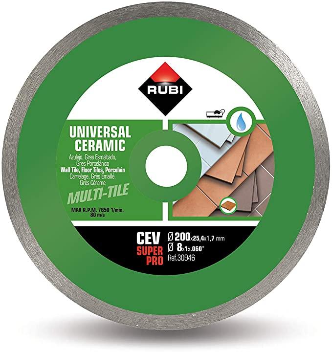 Rubi 30946 - 8″ Ceramic Tiles Continuous Rim Diamond Blade, CEV-200 SUPERPRO